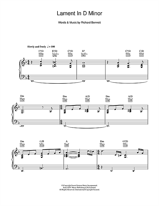 Lament In D Minor Sheet Music