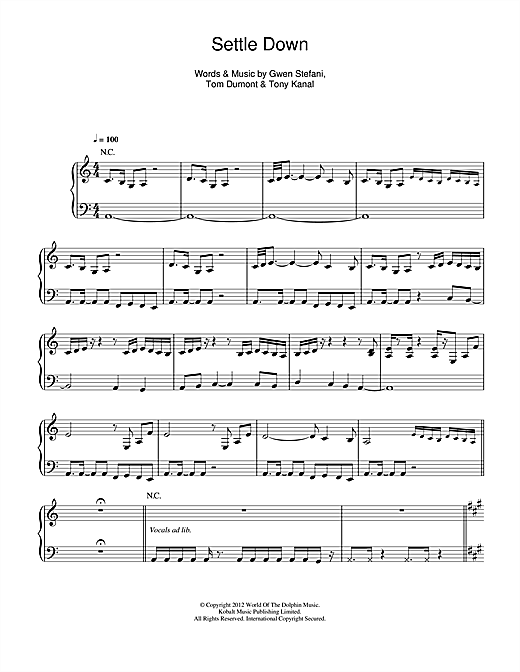 Settle Down Sheet Music