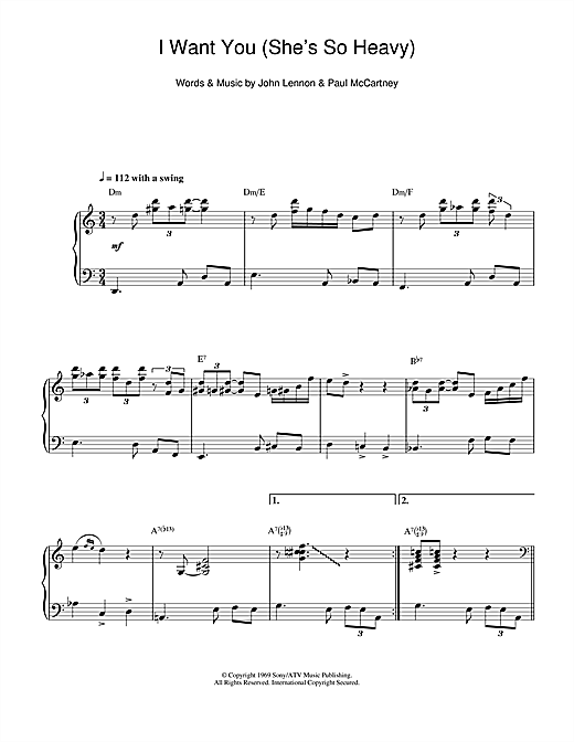I Want You (She's So Heavy) (jazz version) Sheet Music