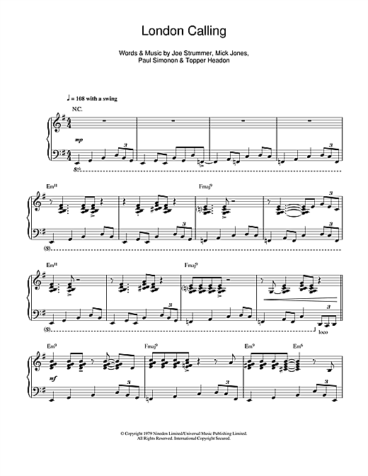 London Calling (jazz version) Sheet Music