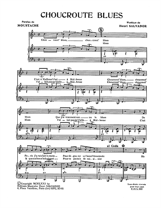 Choucroute Blues Sheet Music