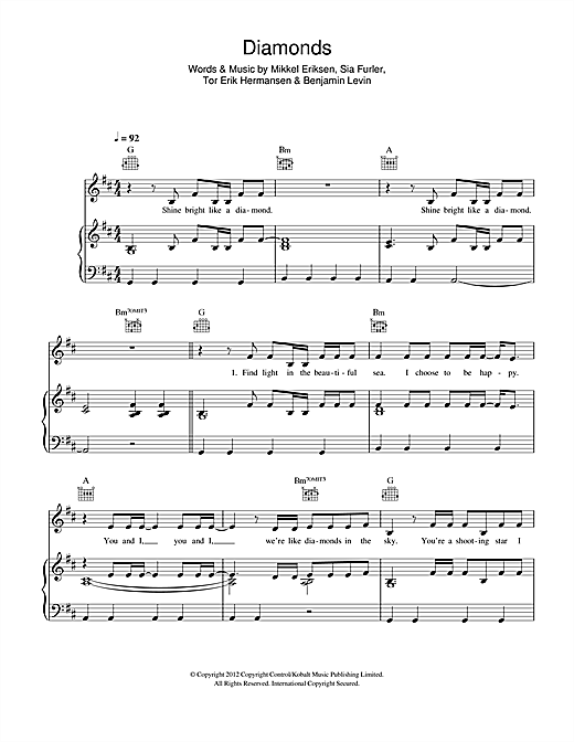 Piano piano tabs to stay by rihanna : Diamonds sheet music by Rihanna (Piano, Vocal & Guitar (Right-Hand ...