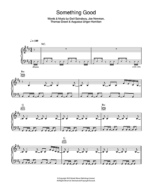Something Good Sheet Music By Alt J Piano Vocal Guitar Right