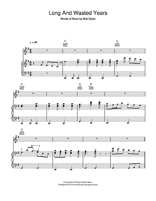 Long And Wasted Years Sheet Music