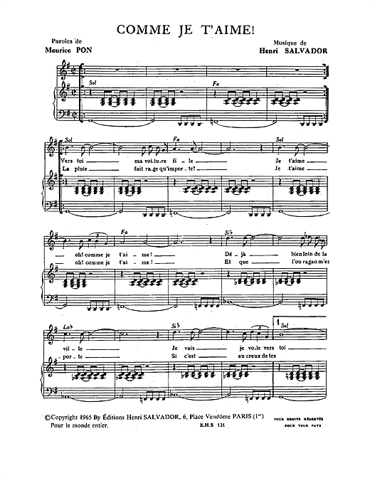 Comme Je T'aime Sheet Music