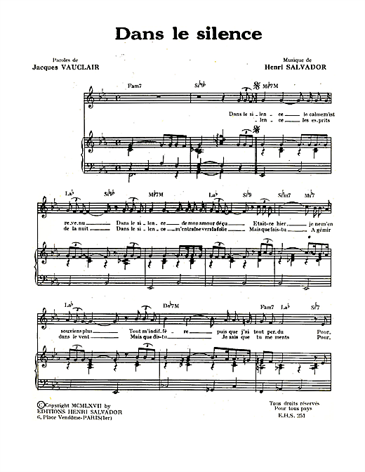 Dans Le Silence Sheet Music