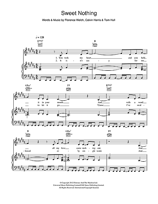 Sweet Nothing (feat. Florence Welch) Sheet Music