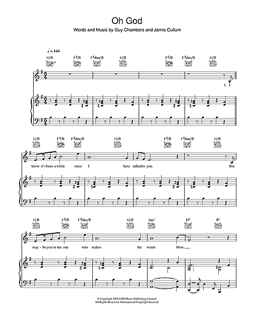 Partition piano Oh God de Jamie Cullum - Piano Voix Guitare