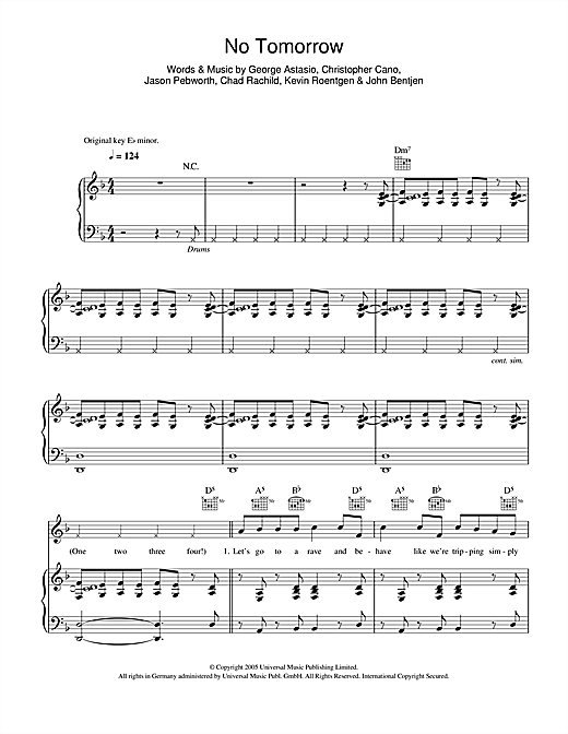 No Tomorrow Sheet Music