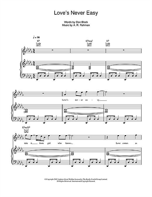 Love's Never Easy Sheet Music