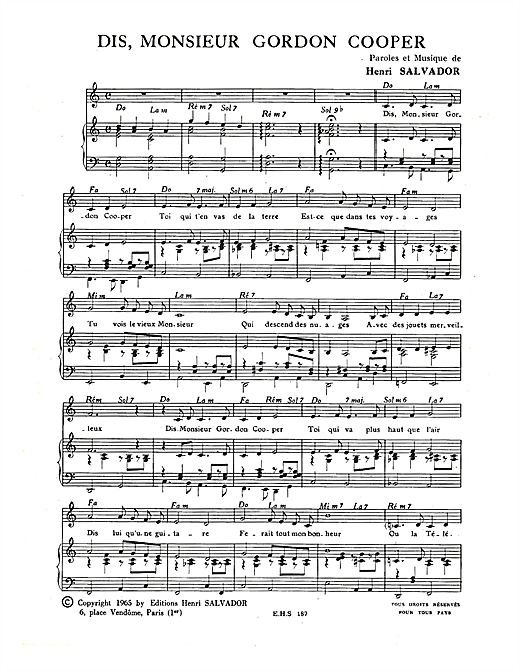 Dis Monsieur Gordon Cooper Sheet Music