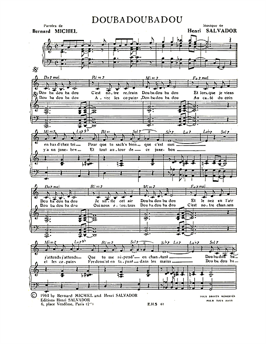 Doubadoubadou Sheet Music