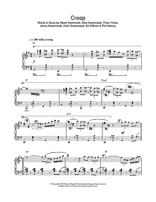 Creep (jazz version) Sheet Music