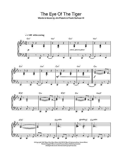 Eye Of The Tiger (jazz version) Sheet Music