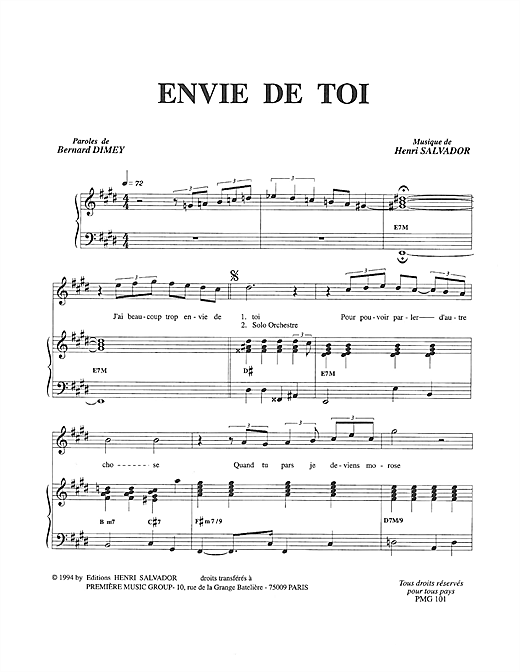 Partition piano Envie De Toi de Henri Salvador - Piano Voix