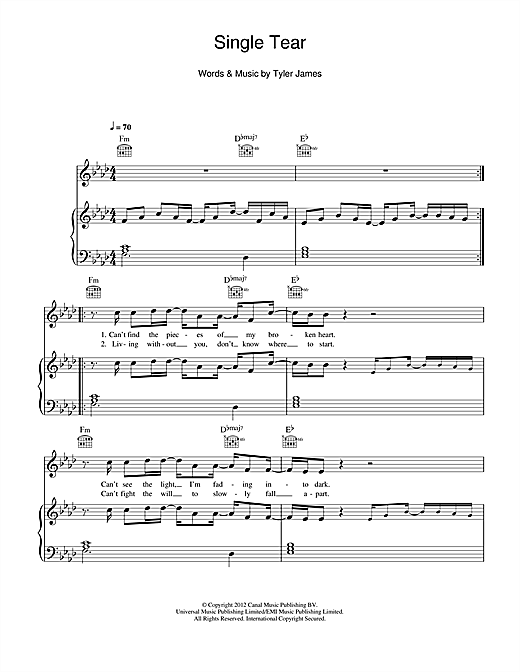 Single Tear Sheet Music