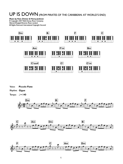 Up Is Down (from Pirates Of The Caribbean: At World's End) Sheet Music