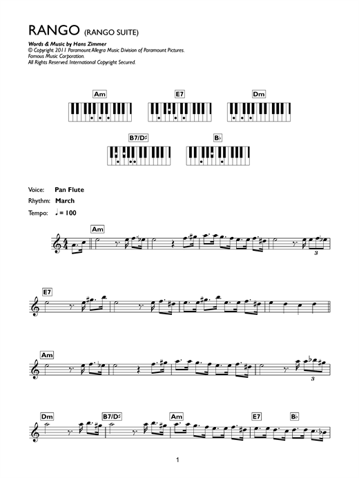 Rango Suite Sheet Music