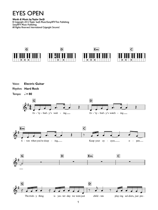 Eyes Open Sheet Music