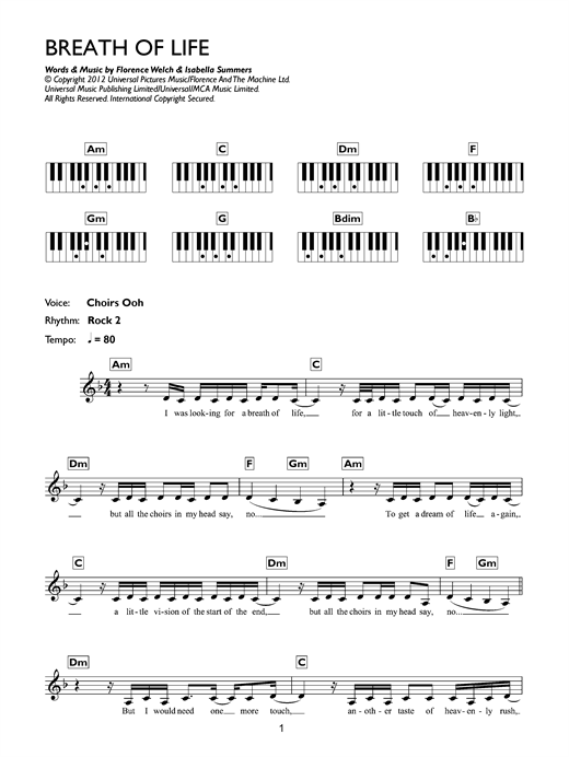 Breathe Of Life Sheet Music