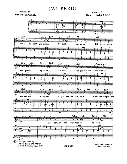 J'ai Perdu Sheet Music