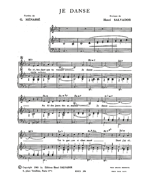 Je Danse Sheet Music