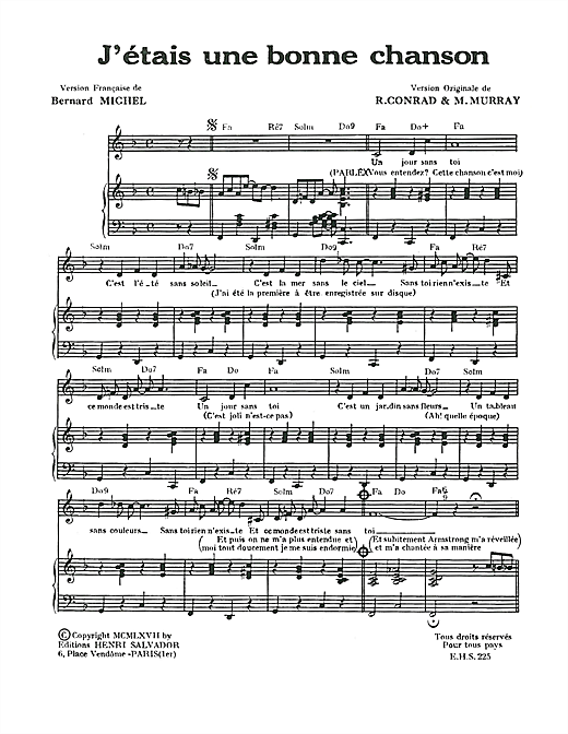 J'etais Une Bonne Chanson (I Was A Good Song) Sheet Music
