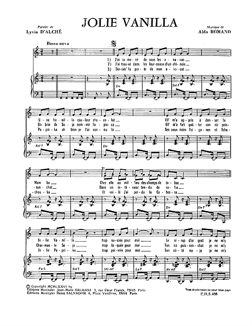 Jolies Vanilla Sheet Music