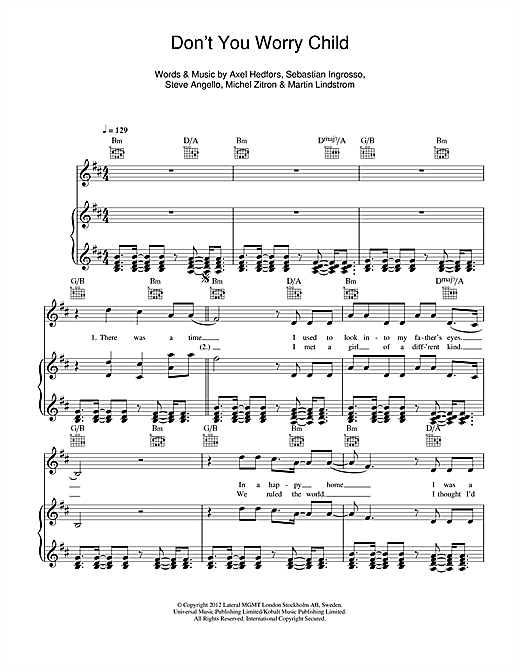 Don't You Worry Child Sheet Music