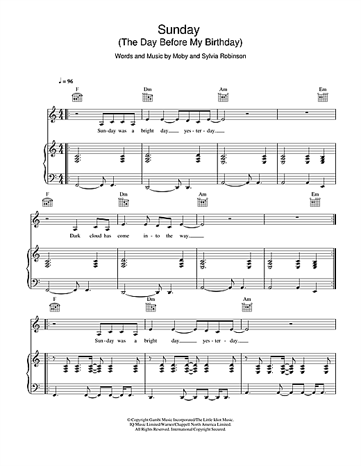 Sunday (The Day Before My Birthday) Sheet Music