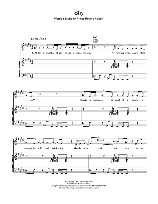 Shy Sheet Music