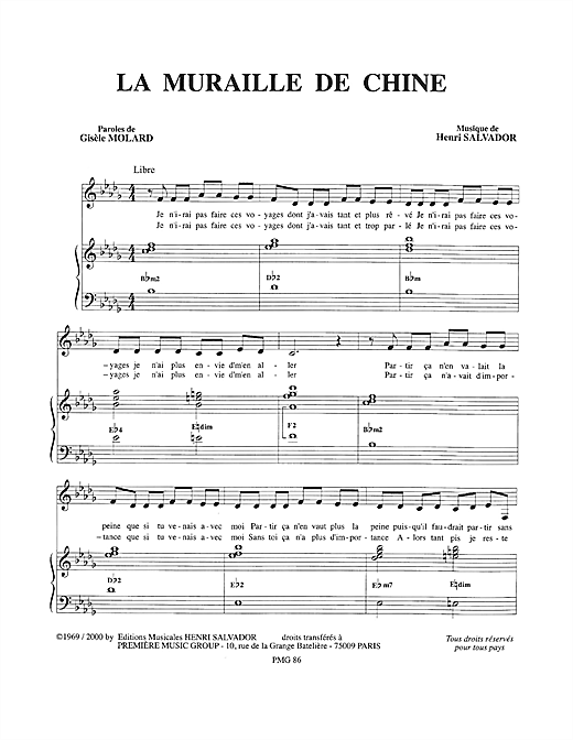 Muraille De Chine Sheet Music