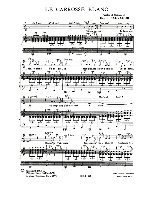 Carrosse Blanc Sheet Music