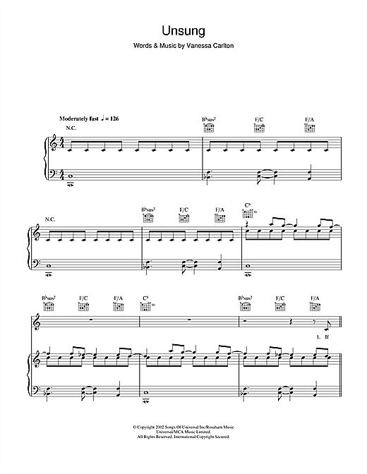 Unsung Sheet Music