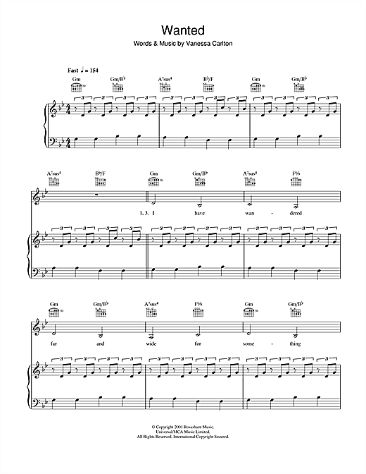 Partition piano Wanted de Vanessa Carlton - Piano Voix Guitare