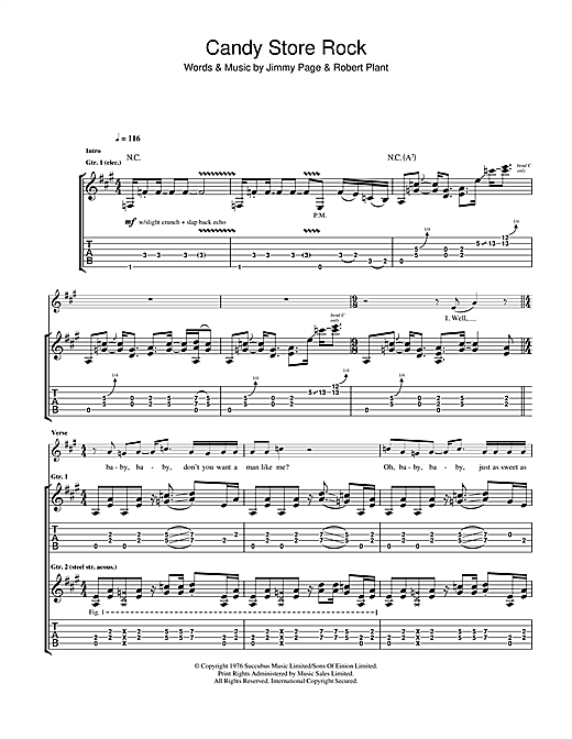 Candy Store Rock Sheet Music