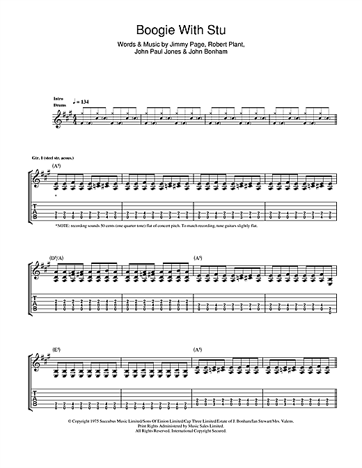 Tablature guitare Boogie With Stu de Led Zeppelin - Tablature Guitare