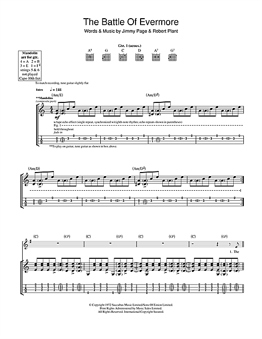 The Battle Of Evermore Guitar Tab by Led Zeppelin (Guitar Tab u2013 115189)
