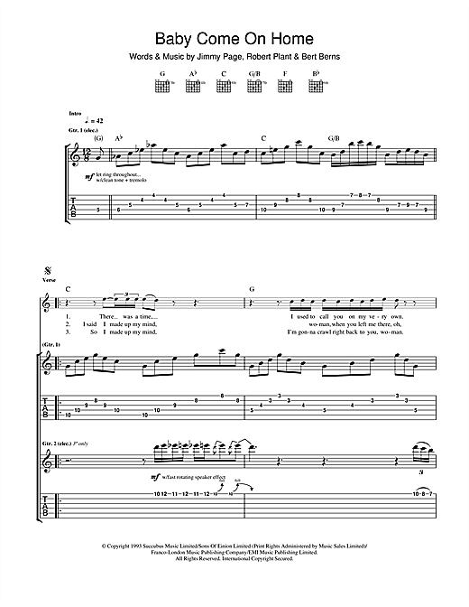 Tablature guitare Baby Come On Home de Led Zeppelin - Tablature Guitare