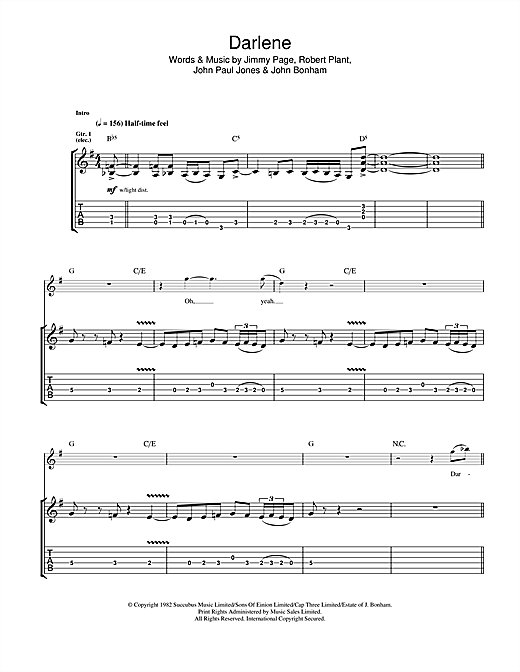 Darlene Sheet Music