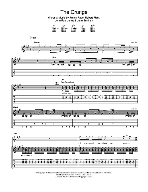 Tablature guitare The Crunge de Led Zeppelin - Tablature Guitare