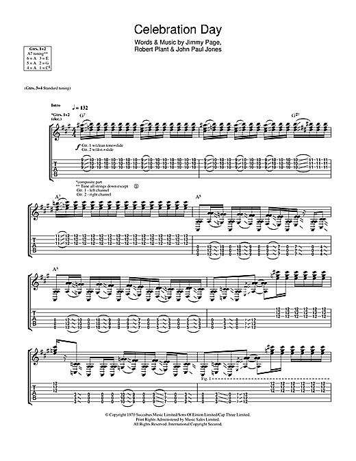 Tablature guitare Celebration Day de Led Zeppelin - Tablature Guitare