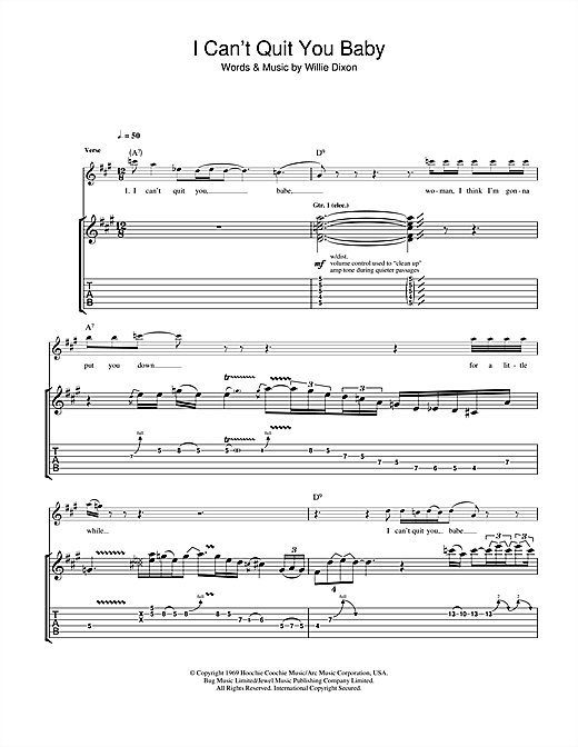 Tablature guitare I Can't Quit You Baby (Coda Version) de Led Zeppelin - Tablature Guitare