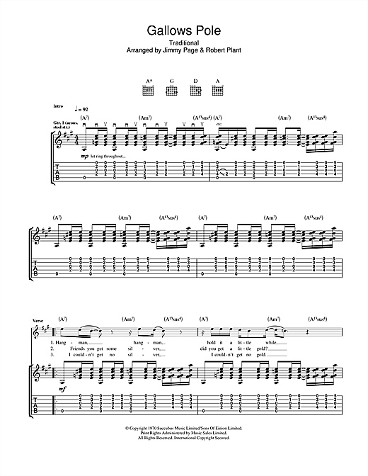 Gallows Pole Guitar Tab By Led Zeppelin Guitar Tab 115208