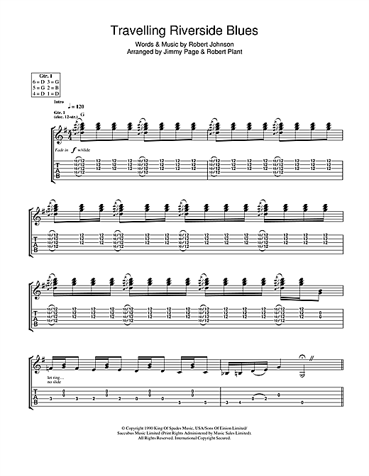 Tablature guitare Travelling Riverside Blues de Led Zeppelin - Tablature Guitare