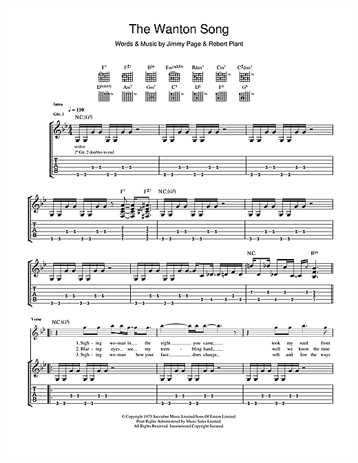 Tablature guitare The Wanton Song de Led Zeppelin - Tablature Guitare