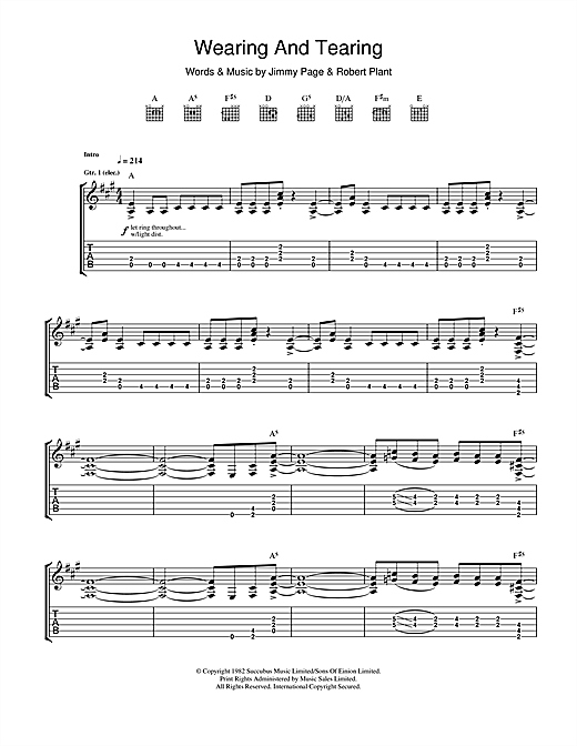 Tablature guitare Wearing And Tearing de Led Zeppelin - Tablature Guitare