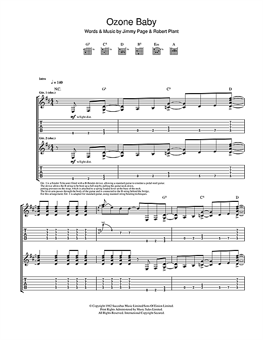Tablature guitare Ozone Baby de Led Zeppelin - Tablature Guitare