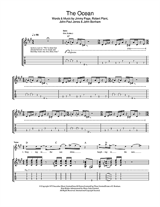 Tablature guitare The Ocean de Led Zeppelin - Tablature Guitare