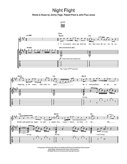 Tablature guitare Night Flight de Led Zeppelin - Tablature Guitare